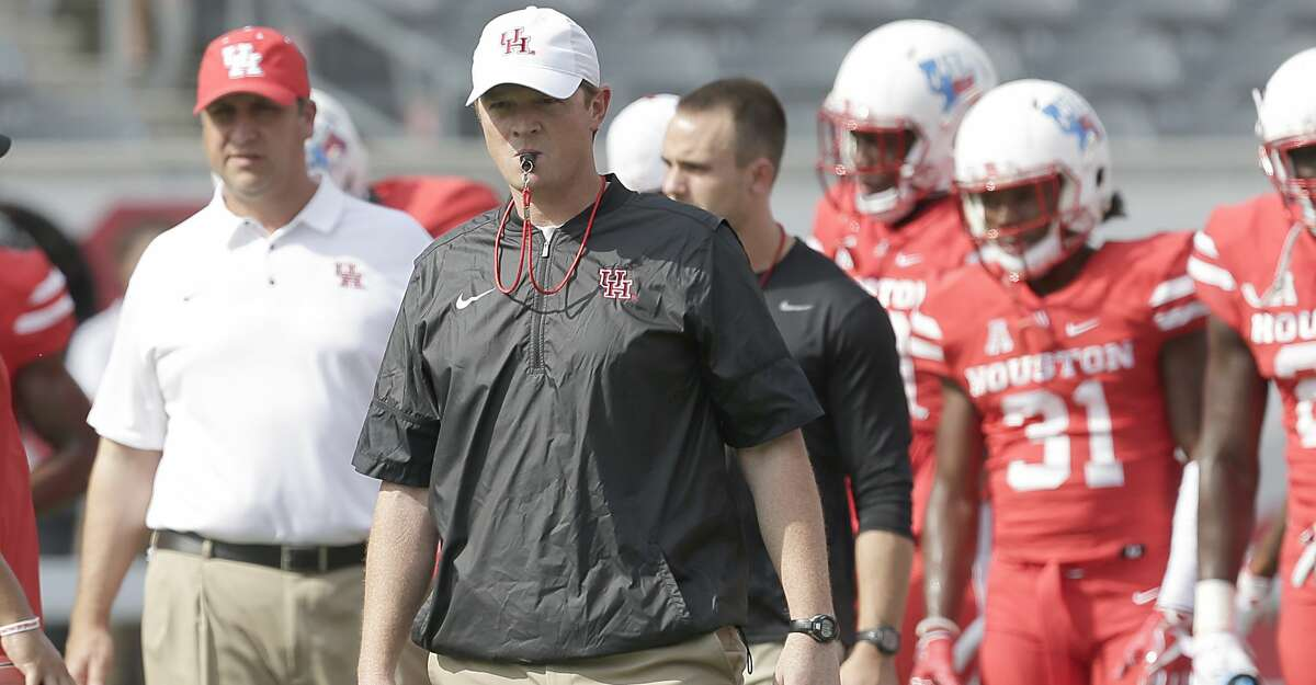 HOUSTON, TX - SEPTEMBER 23: Head coach Major Applewhite of the Houston Cougars watches warm up before playing against the Texas Tech Red Raiders at TDECU Stadium on September 23, 2017 in Houston, Texas. (Photo by Thomas B. Shea/Getty Images)