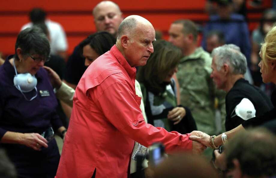 California Governor Jerry Brown greets a community member before a Sonoma County Fire Response and Recovery community meeting at Santa Rosa High School in Santa Rosa, Calif., on Saturday, October 14, 2017. Photo: Scott Strazzante / The Chronicle / San Francisco Chronicle