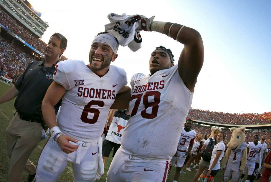 Oklahoma offensive lineman Orlando Brown (78) did not have a good NFL combine, but Oklahoma quarterback Baker Mayfield (6) was quick to defend his performance. Photo: Ron Jenkins/Associated Press