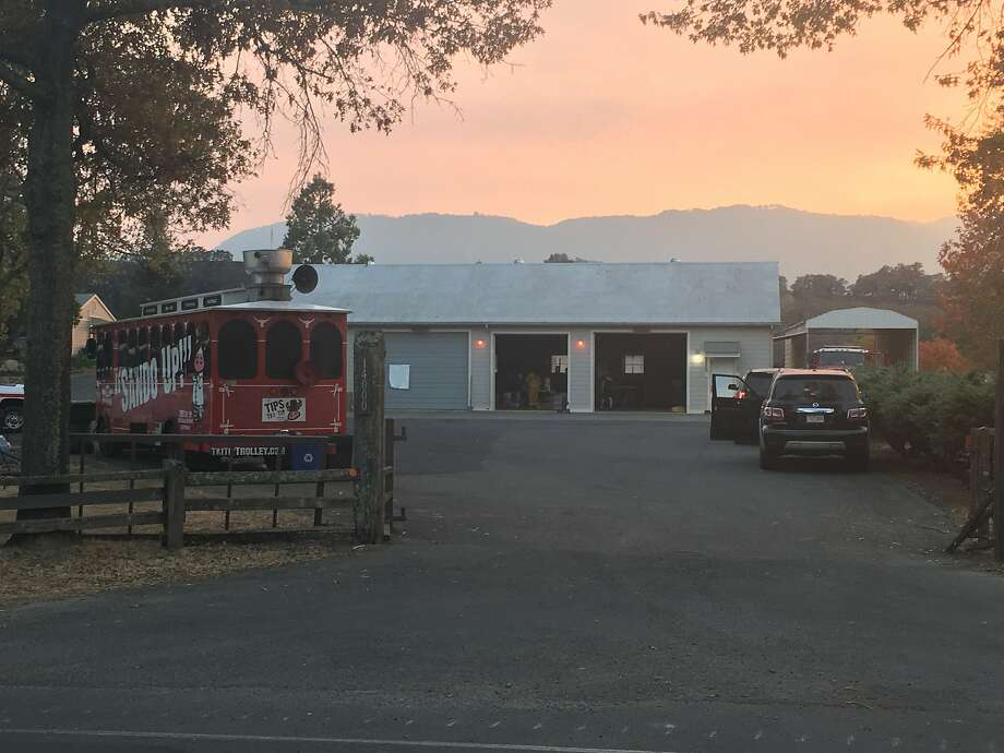 The Cal Fire outpost in Glen Ellen on October 14, 2017. On the left, the Tri Tip Trolley food truck, whose owners are feeding first responders as a gesture of support. Photo: Dominic Fracassa, The Chronicle