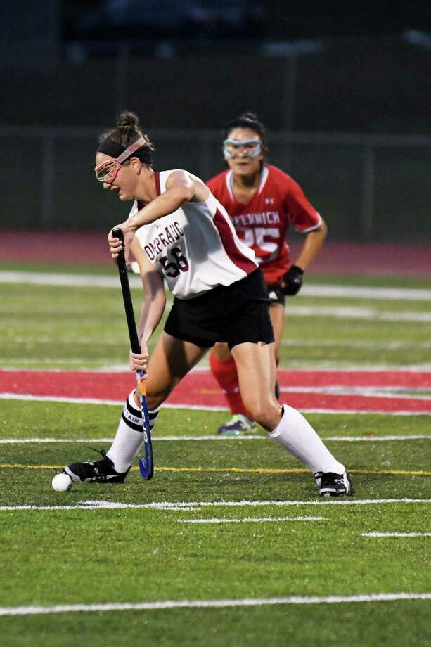 FILE PHOTO: Pomperaug's Allison McCormick, looks for the pass during the Pomperaug vs. Greenwich field hockey game at Pomperaug High in Southbury, 10/9/17. Photo: Krista Benson / / The News-Times Freelance
