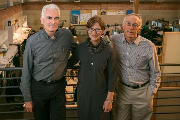 Architects Marsha Maytum, Bill Leddy, (dark shirt) and Richard Stacy in their offices in San Francisco, Calif., are seen on October 11th, 2017.