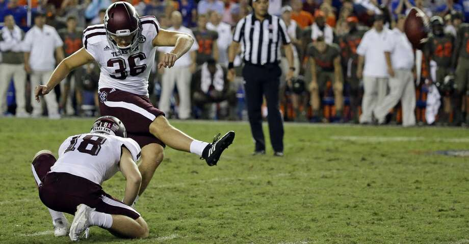 Kicker Daniel LaCamera (36) is back for Texas A&M after a solid 2017 campaign for the Aggies. Photo: John Raoux/Associated Press