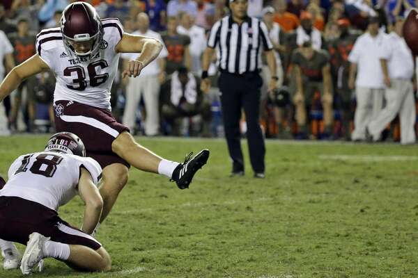 Texas A&M place kicker Daniel LaCamera (36) kicks a 33-yard game winning field goal against Florida during the final minutes of an NCAA college football game, Saturday, Oct. 14, 2017, in Gainesville, Fla. Texas A&M won 19-17. (AP Photo/John Raoux)