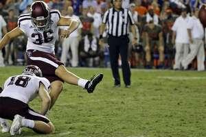 Texas A&M place kicker Daniel LaCamera (36) kicks a 33-yard game winning field goal against Florida during the final minutes of an NCAA college football game, Saturday, Oct. 14, 2017, in Gainesville, Fla. Texas A&M won 19-17. (AP Photo/John Raoux)