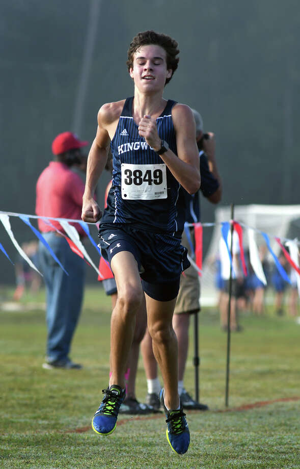Kingwood's Nick Majerus pushes to the finish line during the Varsity Boys race at the District 21-6A Cross Country Championship at Atascocita High School on Oct. 13, 2017. (Photo by Jerry Baker/Freelance) Photo: Jerry Baker, Freelance / Freelance