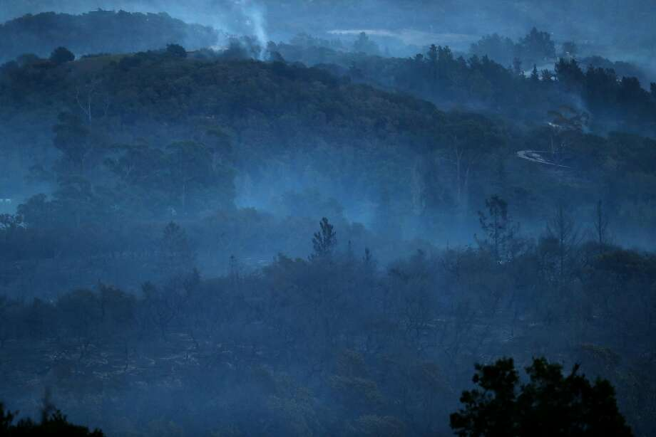 Smoke in the hills east of Sonoma, Calif., on Saturday, October 14, 2017. Photo: Scott Strazzante, The Chronicle