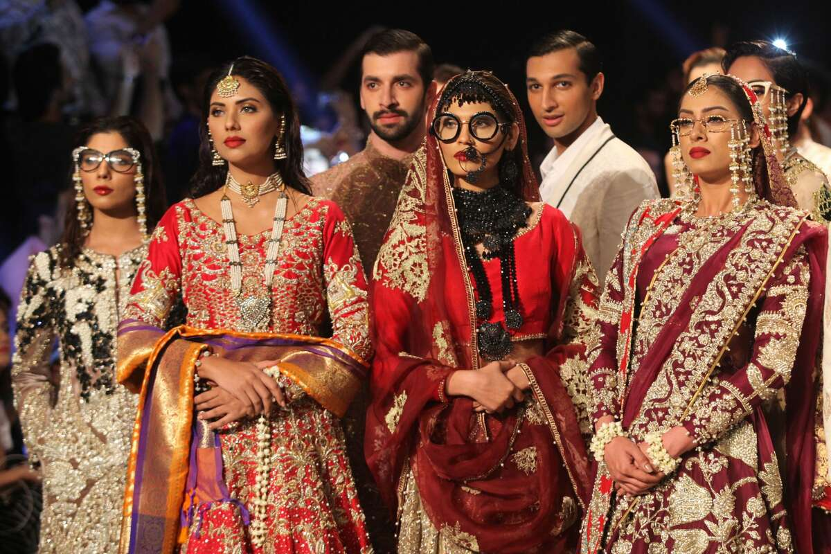 Fashion models walks on the ramp during the 1st day of the PFDC L`Oreal Paris Bridal Week 2017. 14 October 2017 , Lahore Pakistan .