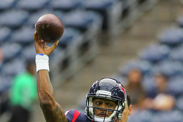 Houston Texans quarterback Deshaun Watson (4) throws during warmup before the first quarter of an NFL football game at NRG Stadium on Sunday, Oct. 15, 2017, in Houston.