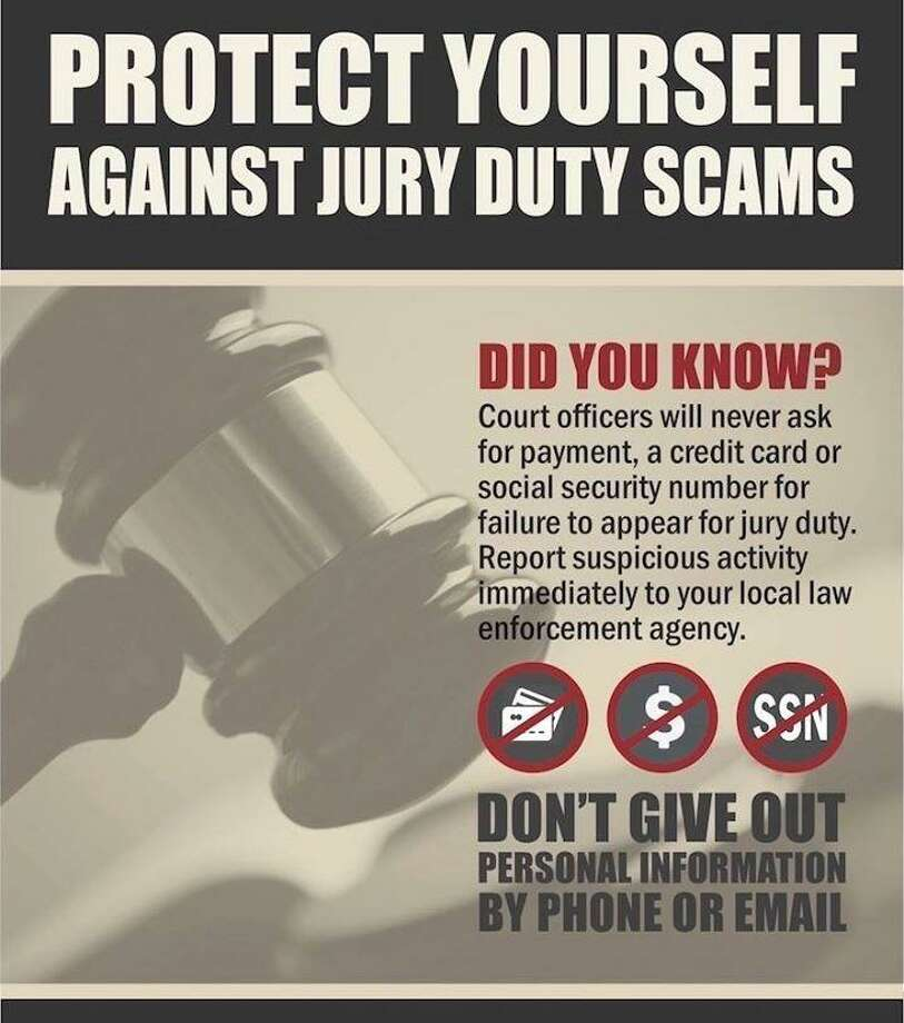 "Fairfield Police are warning residents of a ""jury duty scam"" sweeping the region.Image courtesy of the Fairfield Police Department. Photo: Contributed / Contributed"