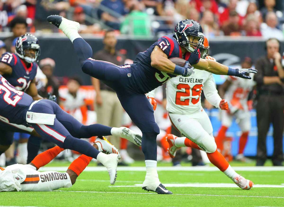 Houston Texans inside linebacker Dylan Cole (51) returns an interception during the first half of an NFL football game at NRG Stadium on Sunday, Oct. 15, 2017, in Houston.