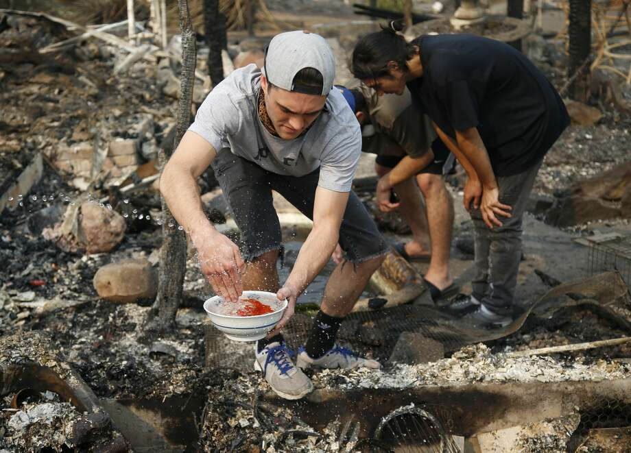 In this Tuesday, Oct. 10, 2017, photo, Logan Hertel fills a bowl of goldfish with water after he and some friends rescued some them from a destroyed home on Parker Hill Court in Santa Rosa, Calif. Photo: Nhat V. Meyer, San Jose Mercury News Via AP