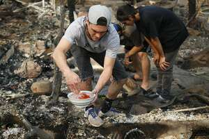 In this Tuesday, Oct. 10, 2017, photo, Logan Hertel fills a bowl of goldfish with water after he and some friends rescued some them from a destroyed home on Parker Hill Court in Santa Rosa, Calif.