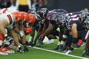 Houston Texans and Cleveland Browns get ready for scrimmage during the fourth quarter of an NFL football game at NRG Stadium on Sunday, Oct. 15, 2017, in Houston. Houston Texans defeated Cleveland Browns 33-17.