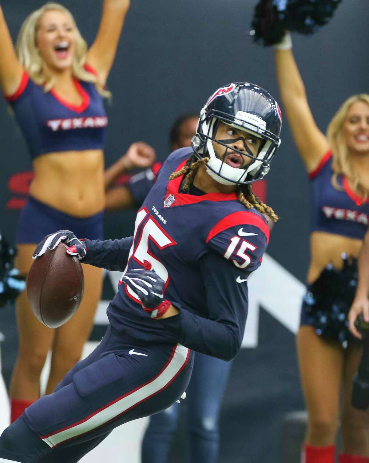 Houston Texans wide receiver Will Fuller (15) celebrates his touchdown during the first quarter of an NFL football game at NRG Stadium on Sunday, Oct. 15, 2017, in Houston.