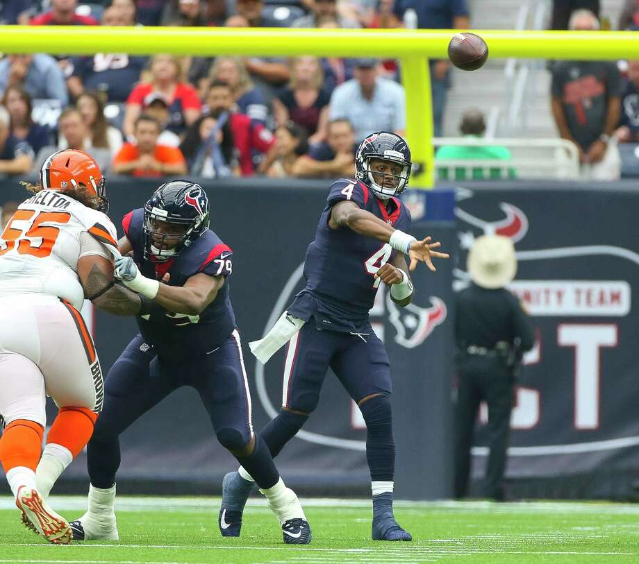 JOHN McCLAIN GRADES THE TEXANS VS. THE BROWNSQuarterbackDeshaun Watson became the first rookie quarterback during the Super Bowl era to throw at least three touchdown passes in three consecutive games. He also threw a pick-6 that gave the Browns their first touchdown.Grade: B Photo: Mark Mulligan, Houston Chronicle / © 2017 Houston Chronicle