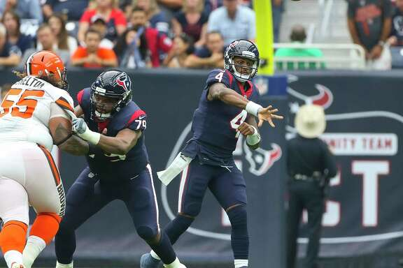 Houston Texans quarterback Deshaun Watson (4) throws during the first half of an NFL football game at NRG Stadium on Sunday, Oct. 15, 2017, in Houston.