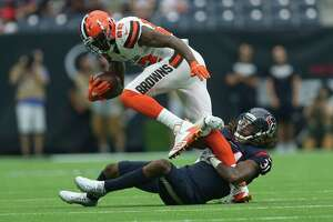 Houston Texans cornerback Treston Decoud (31) tackles Cleveland Browns wide receiver Kasen Williams (82) during the fourth quarter of an NFL football game at NRG Stadium on Sunday, Oct. 15, 2017, in Houston. Houston Texans defeated Cleveland Browns 33-17.