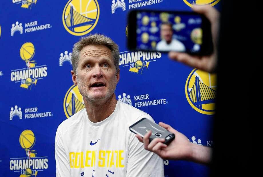 Warriors head coach Steve Kerr Photo: Michael Macor / The Chronicle 2017