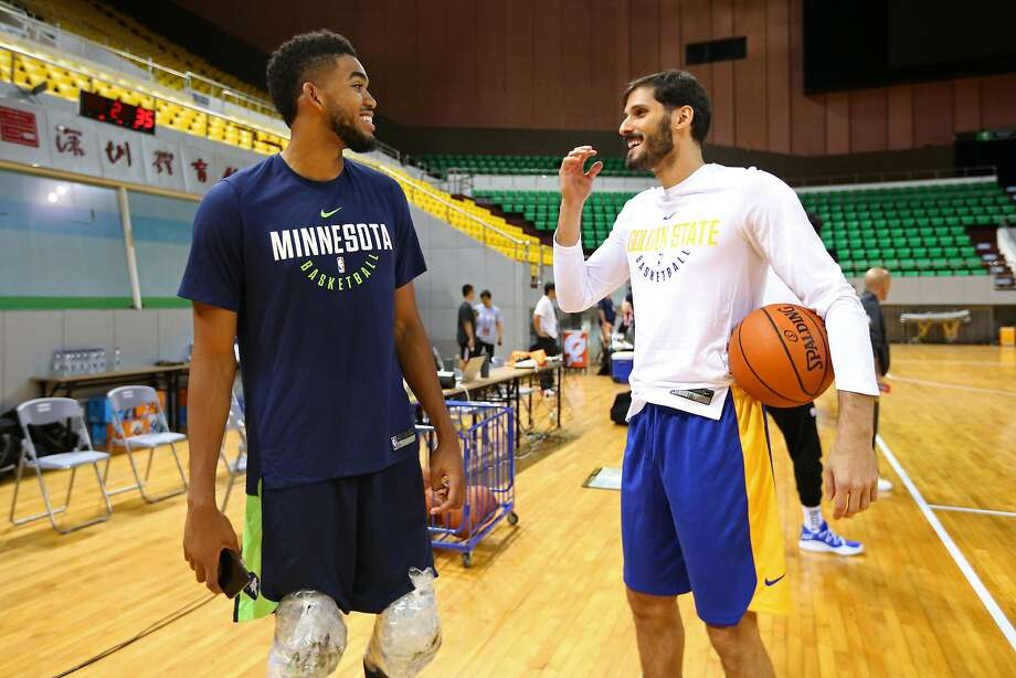 SHENZHEN, CHINA - OCTOBER 03:  Karl-Anthony Towns #32 of the Minnesota Timberwolves talks with Omri Casspi #18 of the Golden State Warriors during practice and media availability at Shenzhen Gymnasium as part of 2017 NBA Global Games China on October 3, 2017 in Shenzhen, China. NOTE TO USER: User expressly acknowledges and agrees that, by downloading and/or using this Photograph, user is consenting to the terms and conditions of the Getty Images License Agreement. Mandatory Copyright Notice: Copyright 2017 NBAE (Photo by David Sherman/NBAE via Getty Images) Photo: David Sherman, NBAE/Getty Images