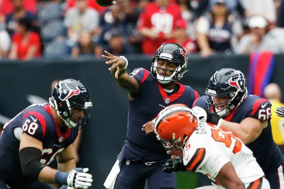 Houston Texans quarterback Deshaun Watson (4) throws a pass against the Cleveland Browns during the second quarter of an NFL football game at NRG Stadium on Sunday, Oct. 15, 2017, in Houston.