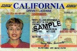A sample California driver's license.