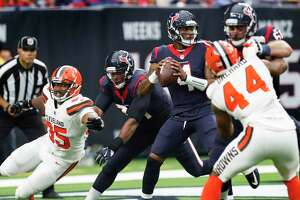 Houston Texans quarterback Deshaun Watson (4) drops back to pass against the Cleveland Browns during the fourth quarter of an NFL football game at NRG Stadium on Sunday, Oct. 15, 2017, in Houston.