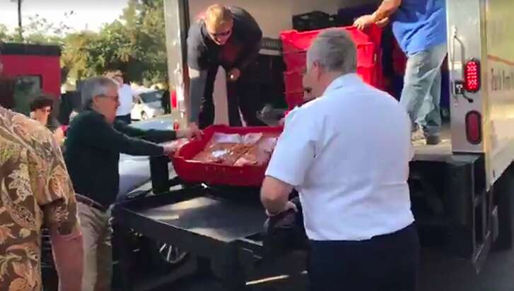 Screen shot of�Facebook�Live video of food delivery to the Napa Valley Salvation Army posted by Hannah Craig on Sunday, Oct. 15, 2017.