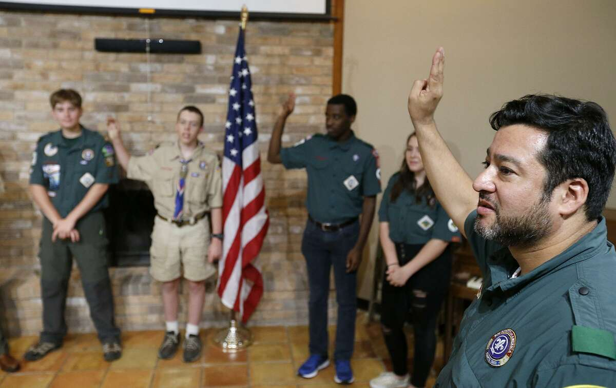 Martinez calls for attention during a lock-in held for scouts over the weekend at Colonial Hills United Methodist Church.