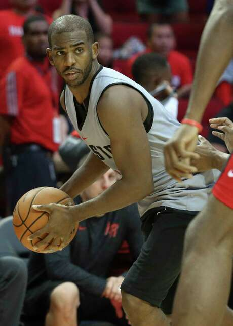 Rockets point guard Chris Paul returned to practice Sunday after missing two of the three preseason games last week with minor injuries ahead of Tuesday's opener against the Warriors. Photo: Yi-Chin Lee, Houston Chronicle / © 2017  Houston Chronicle
