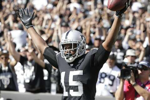 Michael Crabtree celebrates a first-quarter touchdown against the Chargers  in October. On Thursday 48fbb3db6