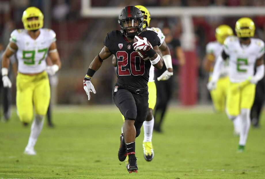 Stanford running back Bryce Love added to his Heisman Trophy résumé during the Cardinal's 49-7 rout of Oregon on Saturday night, scoring on a 67-yard run in the first quarter and finishing with 147 yards rushing. Photo: Thearon W. Henderson, Stringer / 2017 Getty Images