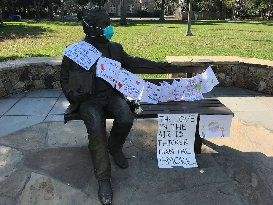 Statue of Gen. Mariano Guadalupe Vallejo in downtown Sonoma Square has become a impromptu message board. Photo: Tara Duggan