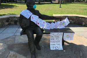 Statue of Gen. Mariano Guadalupe Vallejo in downtown Sonoma Square has become a impromptu message board.
