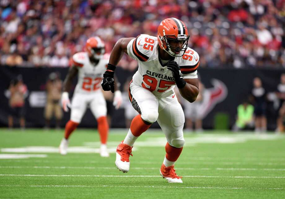 Cleveland Browns defensive end Myles Garrett (95) charges from the line of scrimmage in the second half of an NFL football game against the Houston Texans on Sunday, Oct. 15, 2017, in Houston. (AP Photo/Eric Christian Smith) Photo: Eric Christian Smith, Associated Press / FR171023 AP