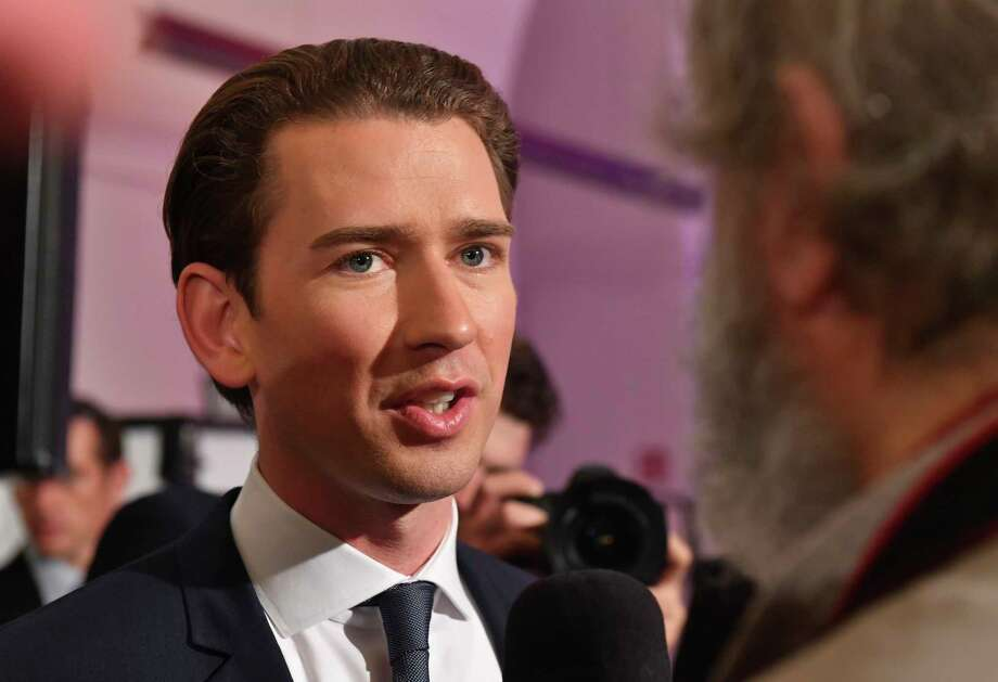 Foreign Minister Sebastian Kurz, head of Austrian People's Party, gives an interview in Vienna, Austria, Sunday, Oct. 15, 2017, after the closing of the polling stations for the Austrian national elections. (AP Photo/Kerstin Joensson) Photo: Kerstin Joensson, STR / Copyright 2017 The Associated Press. All rights reserved.