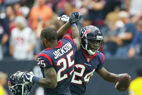 Texans cornerback Johnathan Joseph (24) had two crucial interceptions, one of which he returned for a touchdown, as part of a stingy effort from the defense.