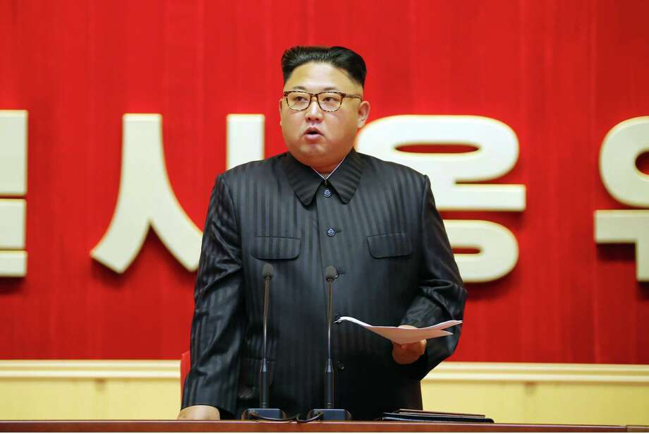 This undated picture released from North Korea's official Korean Central News Agency (KCNA) on August 4, 2016 shows North Korean leader Kim Jong-Un delivering a speech at the 3rd Meeting of KPA Activists in O Jung Hup-led 7th Regiment Title Movement at the April 25 House of Culture in Pyongyang. / AFP PHOTO / KCNA / KCNAKCNA/AFP/Getty Images Photo: KCNA, Stringer / AFP
