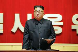 This undated picture released from North Korea's official Korean Central News Agency (KCNA) on August 4, 2016 shows North Korean leader Kim Jong-Un delivering a speech at the 3rd Meeting of KPA Activists in O Jung Hup-led 7th Regiment Title Movement at the April 25 House of Culture in Pyongyang. / AFP PHOTO / KCNA / KCNAKCNA/AFP/Getty Images
