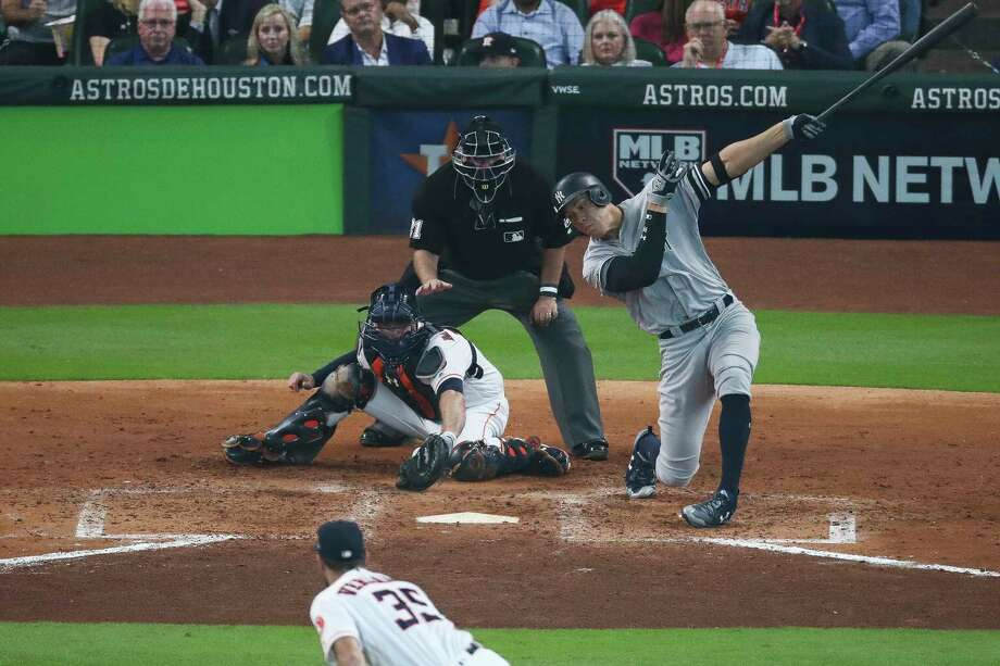 Yankees right fielder Aaron Judge has been a relative non-factor during the ALDS and ALCS after an MVP-caliber regular season. He sees a lot of sliders out of the strike zone. Photo: Michael Ciaglo, Houston Chronicle / Michael Ciaglo