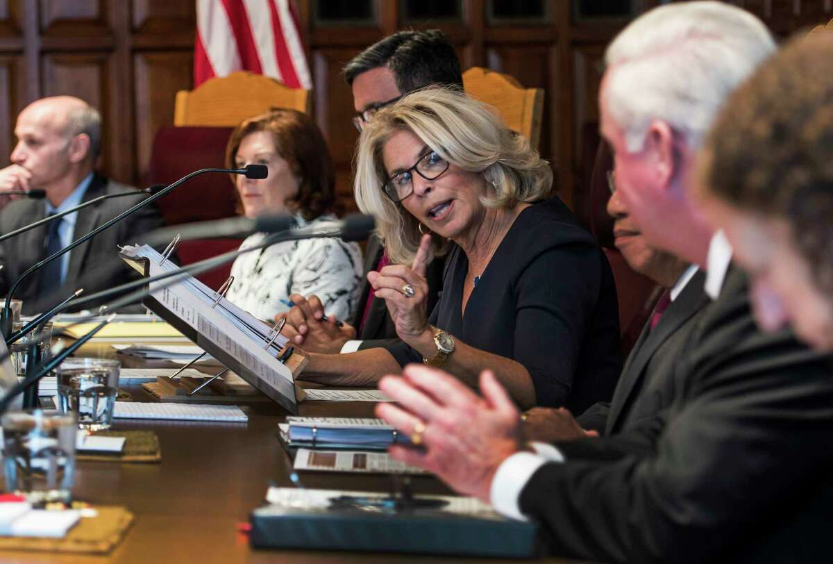 Chief Judge Janet DiFiore, center, introduces members of the panel as she chaired a statewide hearing on Civil Legal Services in New York in the Court of Appeals Hall Monday Sept. 18, 2017 in Albany, N.Y. (Skip Dickstein/Times Union)