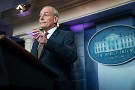 White House Chief of Staff John F. Kelly takes questions during a news briefing at the White House on Oct. 12.
