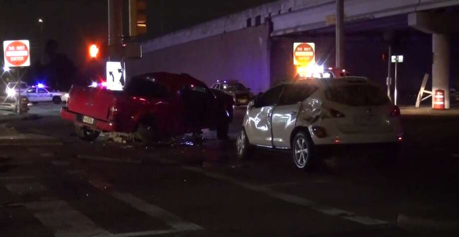 One person was killed early Monday after a two-car crash in southeast Houston. (Metro Video) Photo: Metro Video