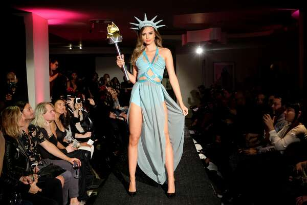 A model walks the runway for Yandy's Annual Halloween Fashion Show at Playboy World Headquarters on October 12, 2017 in Beverly Hills, California.
