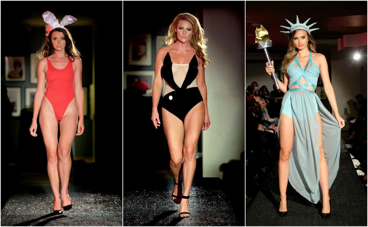 Some of topical Halloween costumes at this year's lingerie fashion show included those inspired by Melania Trump and fake news. Swipe through to see the hottest costumes.