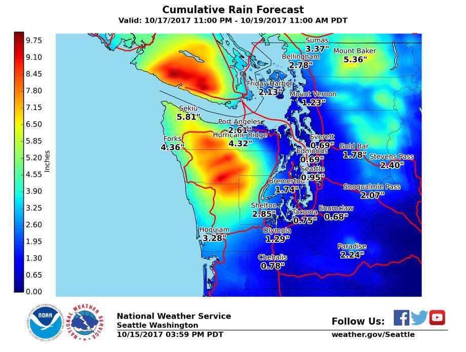 Mountain and coastal areas may see totals of 3 to 10 inches of rain this week, according to the National Weather Service. Photo: National Weather Service