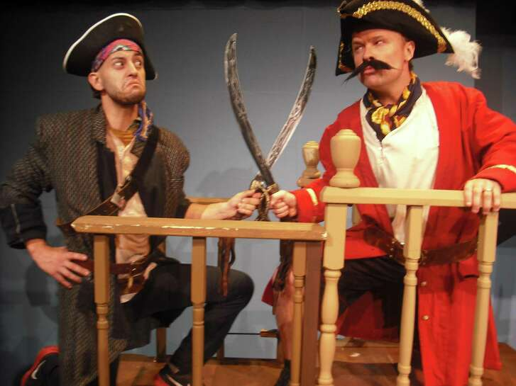 """The Sheldon Vexler Theatre's staging of """"Peter and the Starcatcher"""" was one of the big winners at Sunday's Globe Awards, receiving 11 awards. John Stillwaggon (right, with castmate Andrew Olmos) was one of the performers recognized as best lead actor in a comedy."""