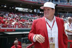 CINCINNATI, OH - JUNE 17: Former Cincinnati Reds great Pete Rose looks on following a dedication ceremony for his bronze statue outside Great American Ball Park prior to a game against the Los Angeles Dodgers on June 17, 2017 in Cincinnati, Ohio. The Dodgers defeated the Reds 10-2. (Photo by Joe Robbins/Getty Images)