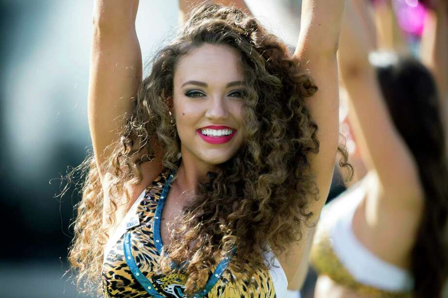 A against the Jacksonville Jaguars Roar cheerleader performs during the first half of an NFL football game against the Los Angeles Rams, Sunday, Oct. 15, 2017, in Jacksonville, Fla. (AP Photo/Stephen B. Morton) Photo: Stephen B. Morton, Associated Press / FR56856 AP