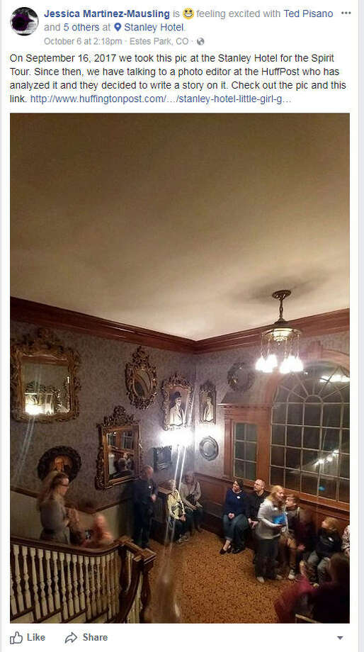 "The owners of a photo taken at the Stanley Hotel during a tour believe they captured an image of multiple ""ghosts.""Image source: Facebook  See haunted homes you can stay in up ahead. Photo: Jessica Maritnez-Mausling Via Facebook"